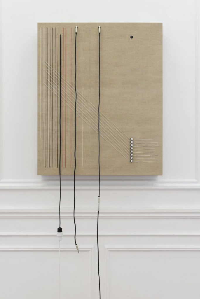 Naama Tsabar, Transition, 2016, wood, canvas, electronics, cables, knobs, speakers, 117 x 96.5 x 14 cm, unique