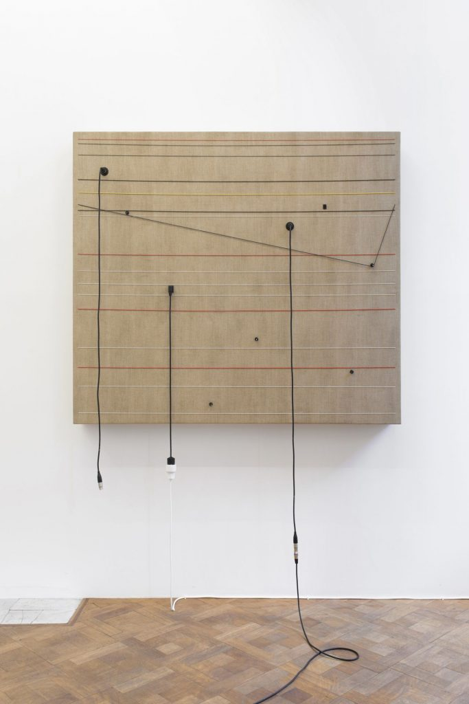 Naama Tsabar, Transition, 2016, wood, canvas, electronics, cables, knobs, speakers, 131 x 153.5 x 16.5 cm, unique