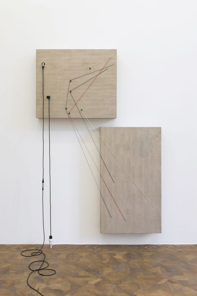 Naama Tsabar, Transition, 2016, wood, canvas, electronics, cables, knobs, speakers, 223 x 152 x 16.5 cm, unique