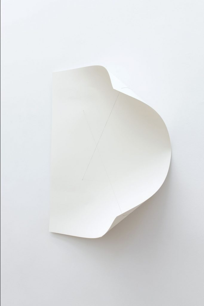 Naama Tsabar, Work on Paper #22, 2018, ph-neutral cotton paper, cotton thread, ph-neutral glue, wood, 72.5 x 56.2 x 24.5 cm, unique
