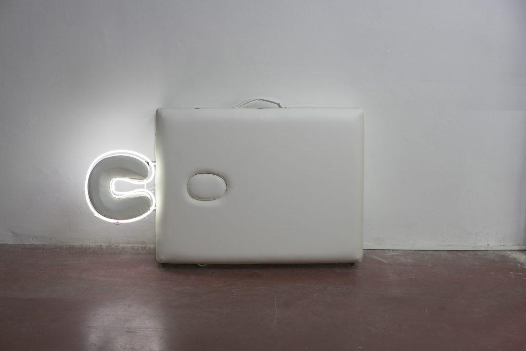 Barak Ravitz, Aura 2, 2018, portable massage table, neon, 72 x 122 x 19 cm, unique