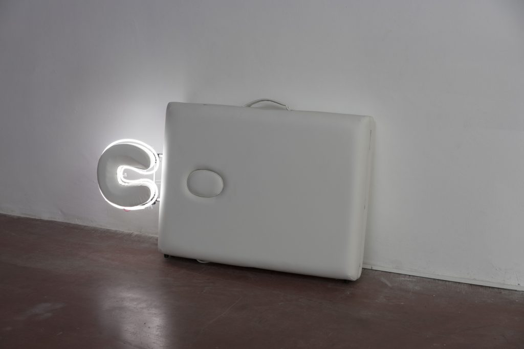 Barak Ravitz, Aura 2, 2018, portable massage table, neon, 72 x 122 x 19 cm, unique
