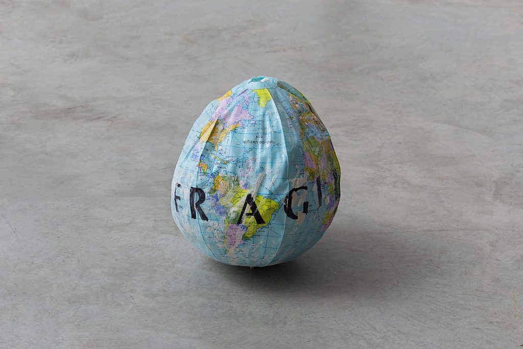 Etti Abergel, Fragile, 2014, inflated globe plaster, unique