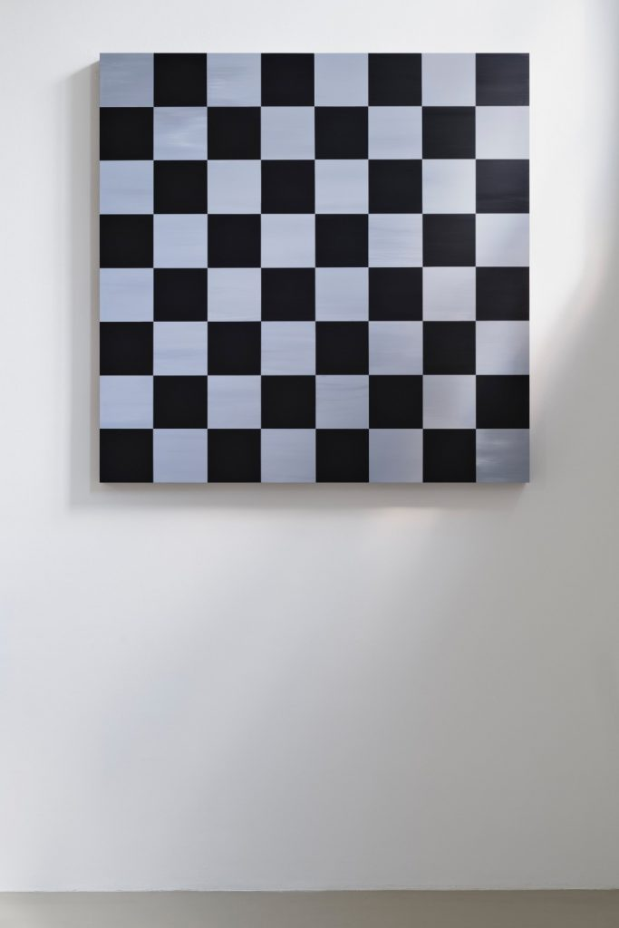 Sarah Ortmeyer, GRANDMASTER I, 2018, paint on metal, 185 x 185 x 10 cm, unique