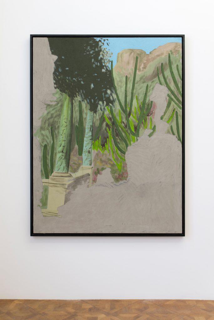 Latifa Echakhch, Sans titre (jardin exotique), 2018, acrylic and concrete paints on canvas, aluminium and wooden frame, 200 x 150 cm, unique