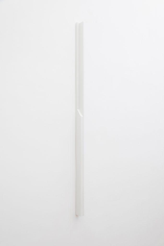 Florian Pumhösl, Plaster Object #6 (Formed speech), 2016, sealer on plaster, 159 x 6 x 4 cm, unique