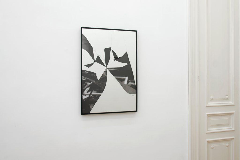 Ariel Schlesinger, Untitled (Crystal Night), 2019, mirror, found image, 61.6 x 91.6 cm, unique
