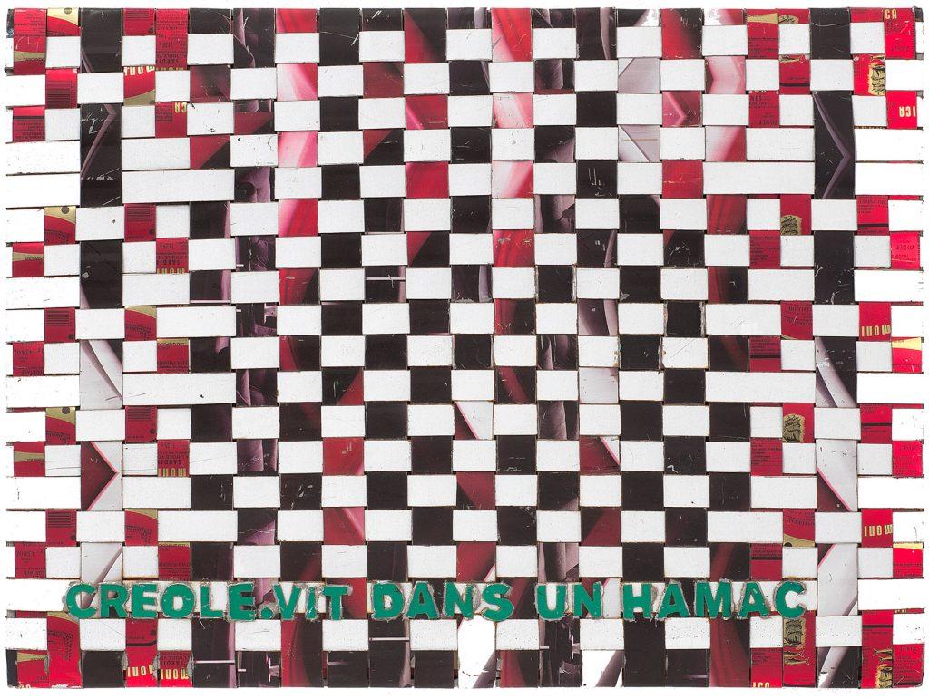 Adel Abdessemed, Cocorico painting, Creole. Vit dans un hamac, 2017-2018, recycled printed metal, 42.5 x 57.5 x 3.5 cm, unique
