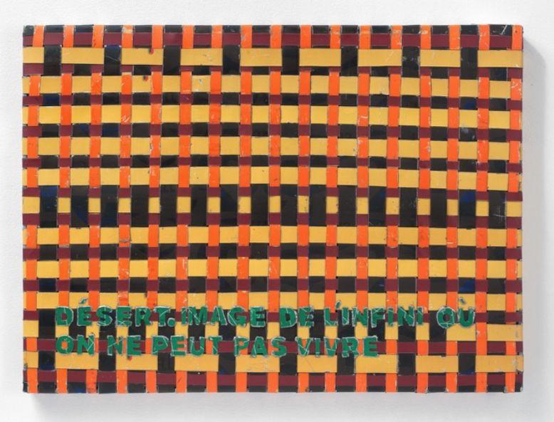 Adel Abdessemed, Cocorico painting, Désert. Image de l'infini où on ne peut pas v ivre, 2017-2018, recycled printed metal, 57 x 42.5 x 3.5 cm, unique