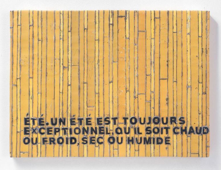 Adel Abdessemed, Cocorico painting, Été. Un été est toujours excetionnel, qu'il soit chaud ou froid, sec ou humide, 2017-2018, recycled printed metal, 57 x 42.5 x 3.5 cm, unique