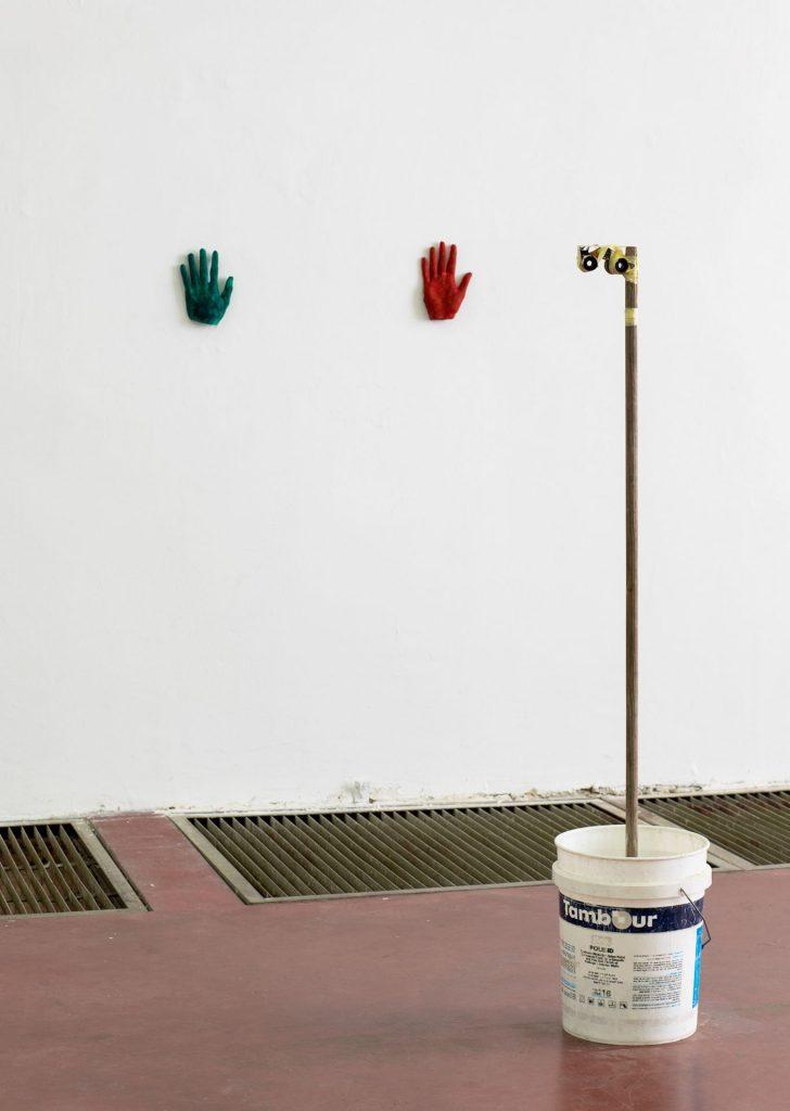 Shai-Lee Horodi, B. W. 2019, Plaster, pigment, concrete, found objects, tape, Variable dimensions, Unique