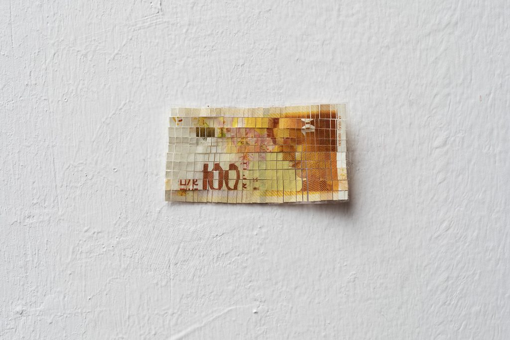 Shai-Lee Horodi, 100 NIS, n.1, 2019, A bill, 4 x 7.7 cm, Unique