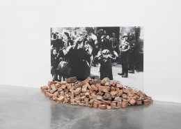 Gustav Metzger, Historic Photographs No. 1 Liquidation of the Warsaw Ghetto, April 19-28 days, 1943, 1995-2020, black and white photograph, rubble, 150 x 211 cm
