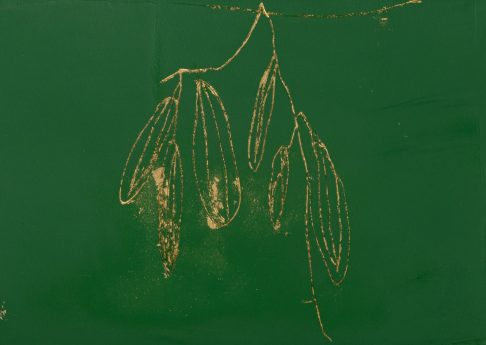 Seven Cucumbers, 2021, oil and gold leaves on paper, 21 x 15 cm, unique