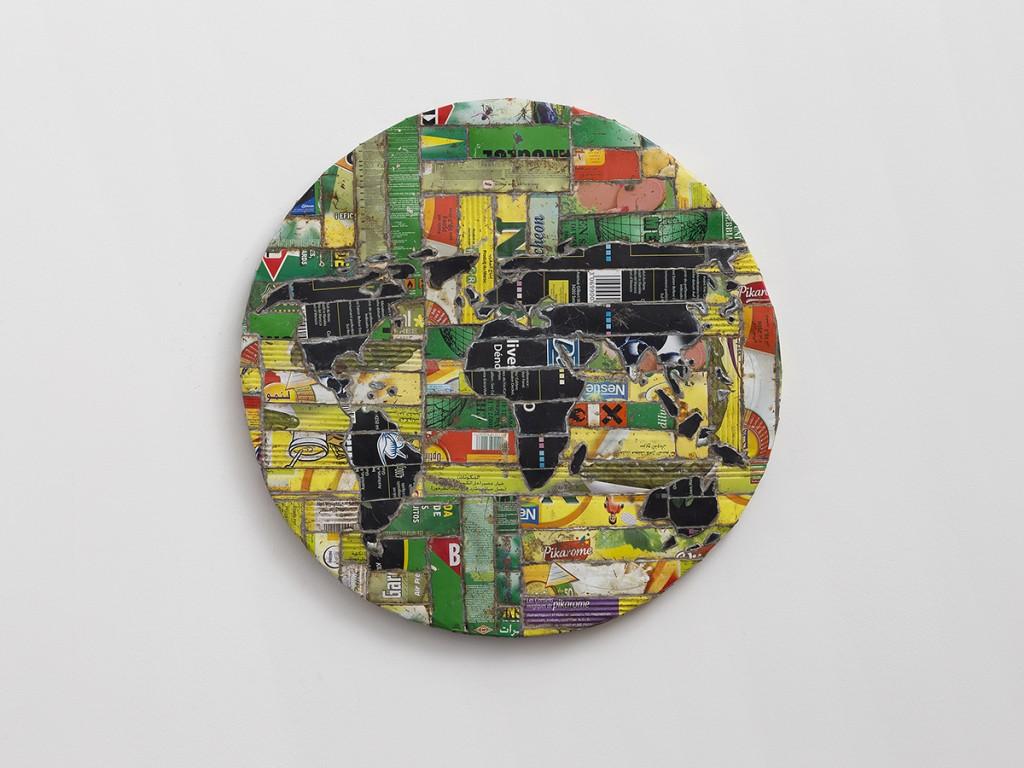 Adel Abdessemed, Mappemonde, 2010, printed steel, 60.5 cm ø x 3,5 cm, unique