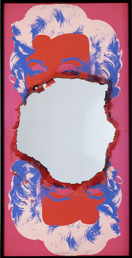 Douglas Gordon, Self-Portrait of You + Me (Marilyn in two pieces red/blue), 2008, burned print, smoke and mirror, 154.6 x 77 cm