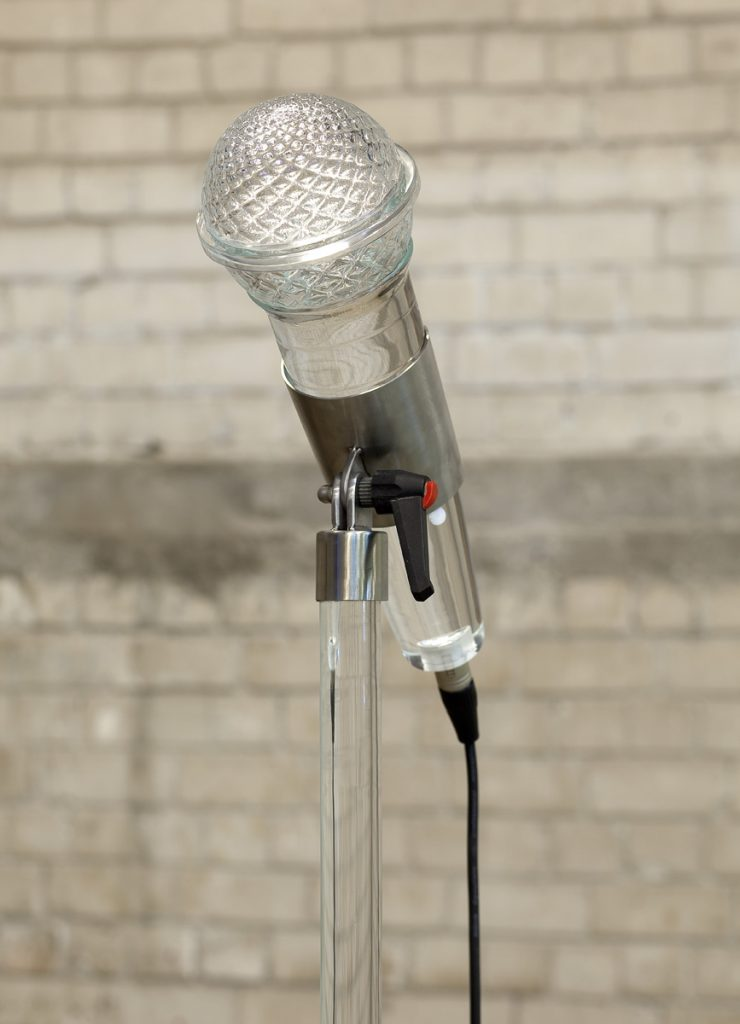 Adel Abdessemed, Fatalité, 2011, installation, 7 hand-blown murano glass microphones, unique