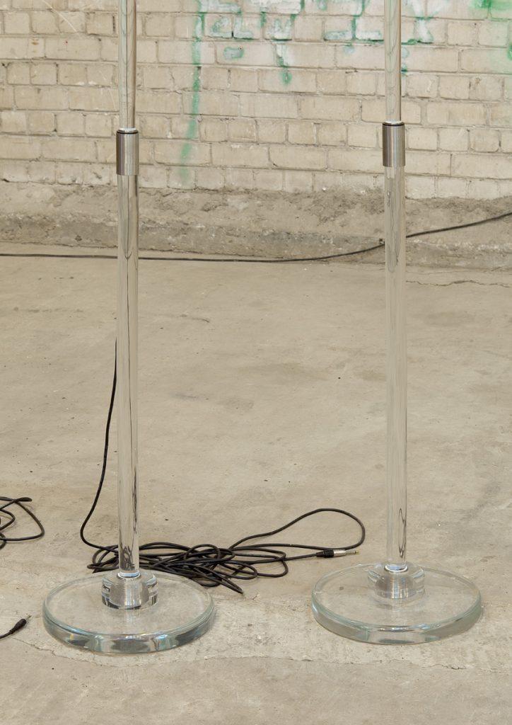 Adel Abdessemed, Fatalité (detail), 2011, installation, 7 hand-blown Murano glass microphones, 340 x 3 cm, 221 x 4 cm, unique (detail)