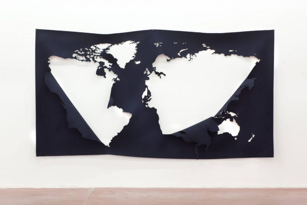 Jonathan Monk, The World Without The World In Blue, 2014, Felt, 175 x 320 cm, unique