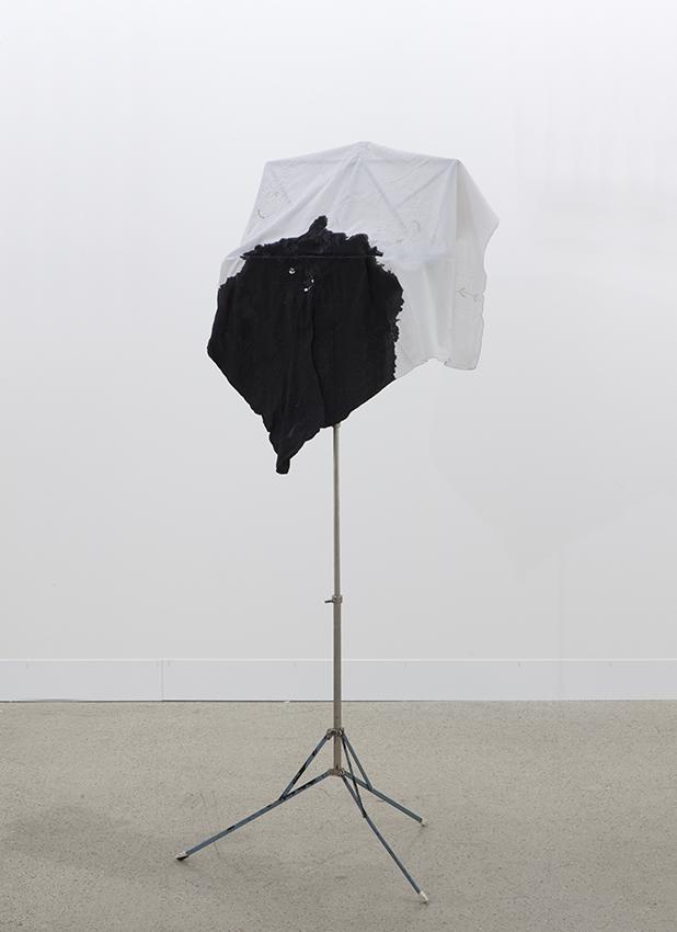 Latifa Echakhch, Fantôme, 2014, Music stand, ink, fabric, Height 132 cm x diameter 55 cm, unique
