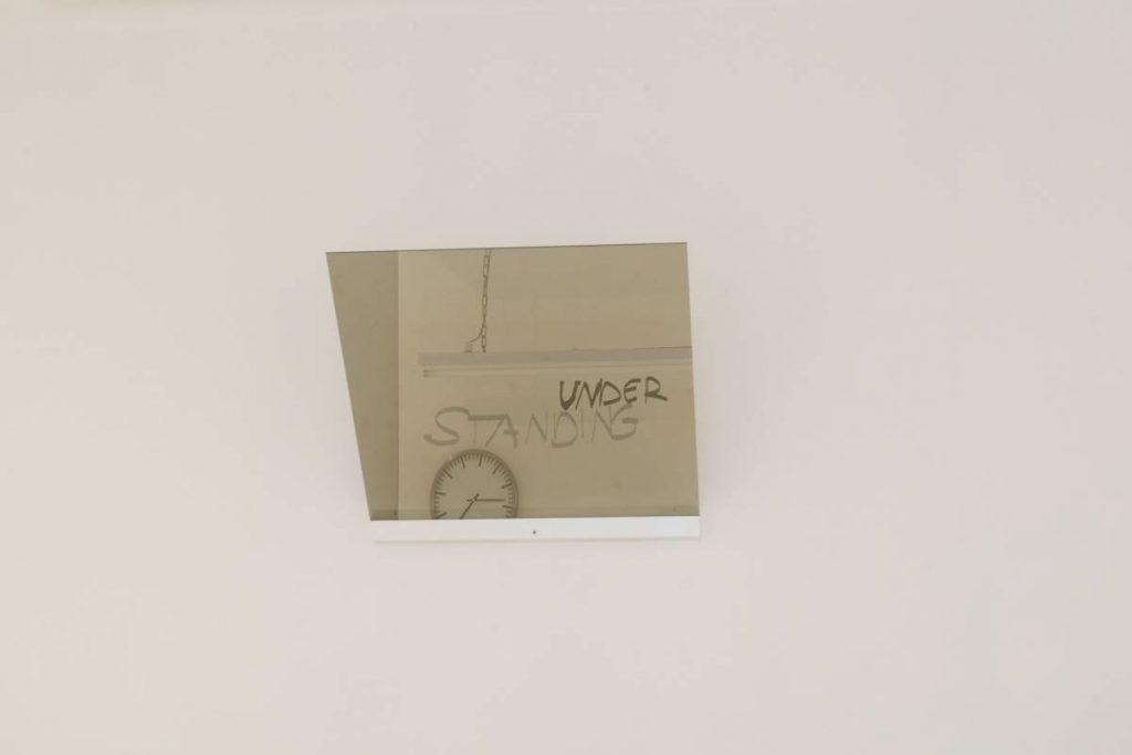 Miri Segal, The specter of thought, 2009, Wood shelf, glass, clock, neon