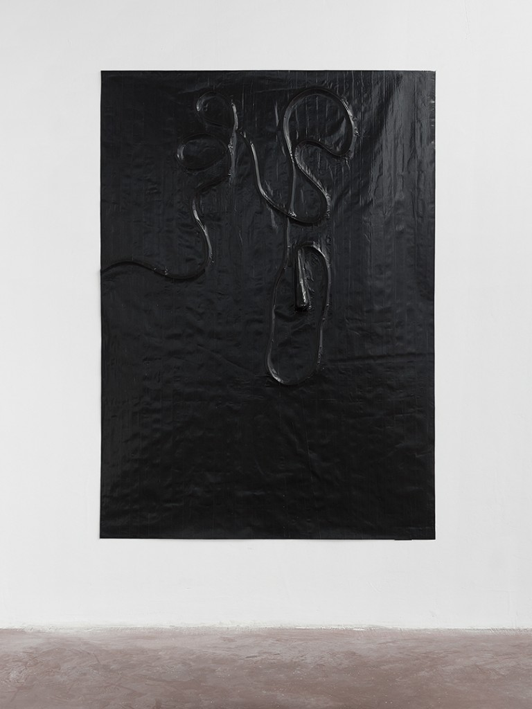 Naama Tsabar, Study For a Microphone (variation two), 2014, gaffer duct tape, muslin, epoxy, 193 x 135 cm, unique