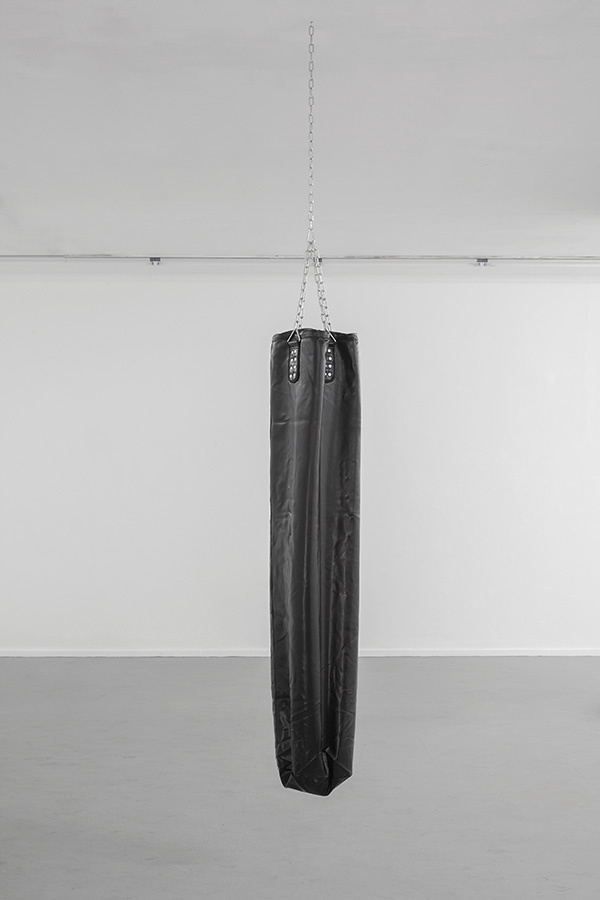 Latifa Echakhch, Untitled (Bag), 2013, empty punching bag, 180 x 30 cm, Edition of 3
