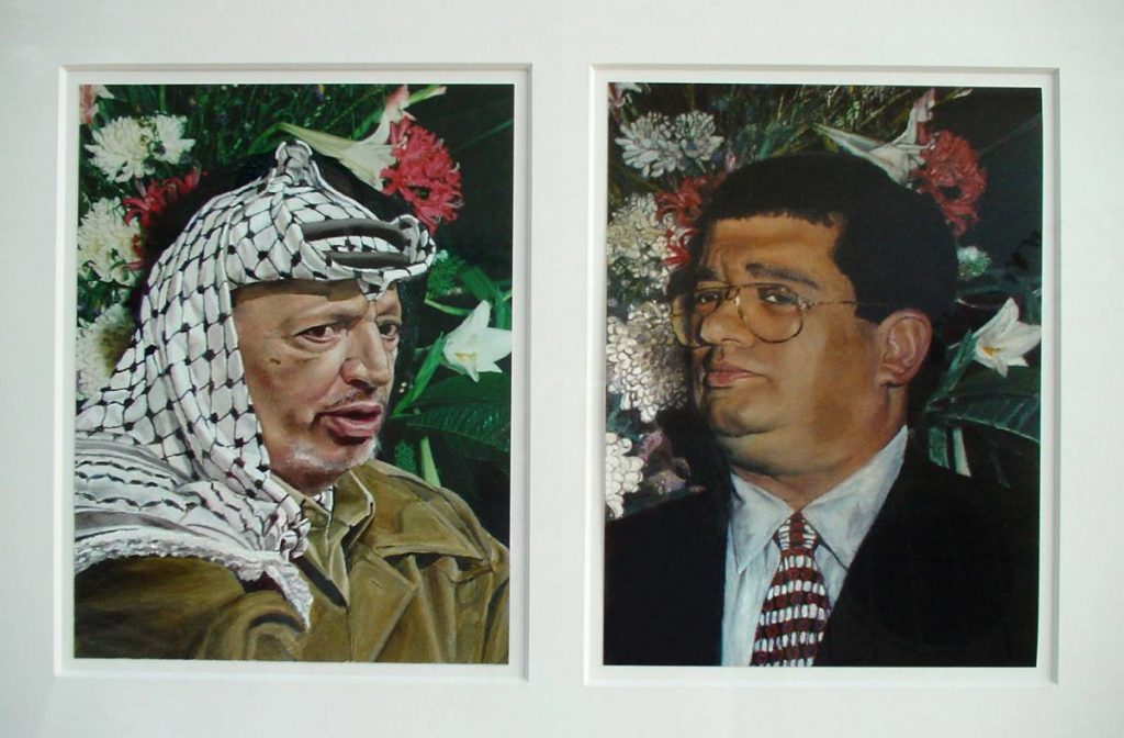 Ruti Nemet, Arafat and Schwartzman, 2003, mixed media on paper, 33x48 cm