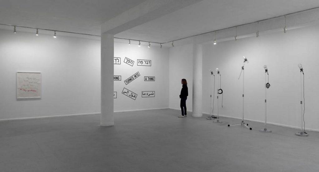 Adel Abdessemed, Fatalité, 2011, installation, hand-blown Murano glass microphones, 340 x  3cm, 221 x 4 cm, unique, exhibition view