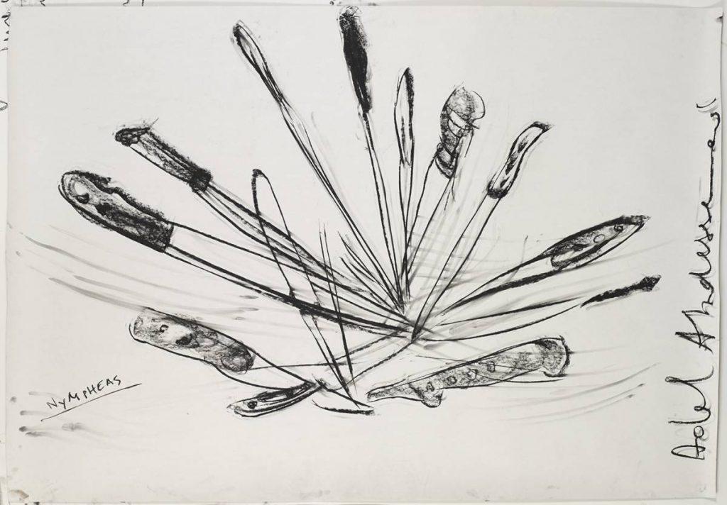 Adel Abdessemed, Nympheas, 2014, black stone on paper, 130 x 188 cm, unique