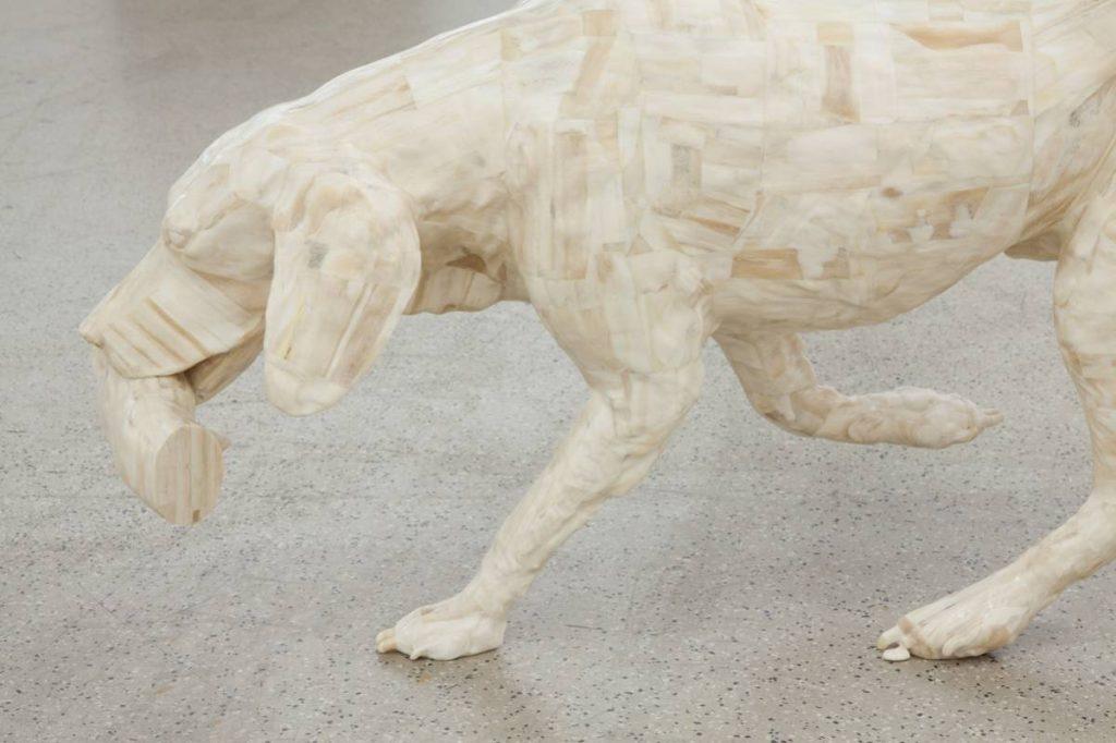 Adel Abdessemed, Personne (detail), 2014, camel bones, 55 x 102 x 25 cm, unique