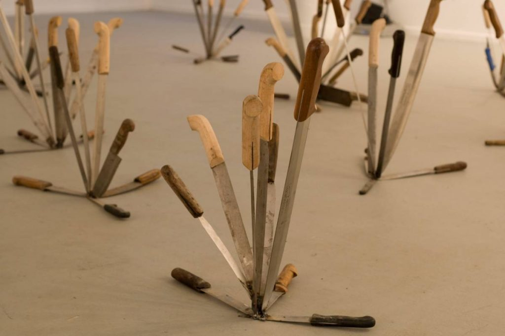 Adel Abdessemed, Axe On (detail), 2007, knives, variable dimension