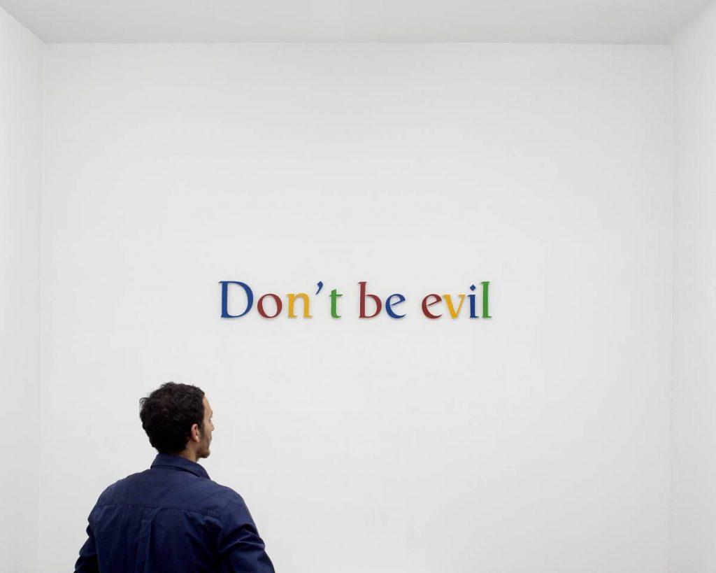 Miri Segal, Don't be evil, 2010, colored aluminium letters, laser cutting, 18 x 127 cm, edition of 5 + 2 AP