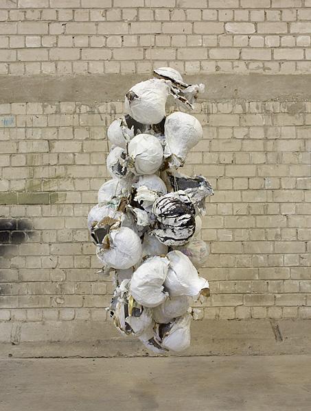 Etti Abergel, Untitled, 2009, sandpaper, masking tape, aluminum foil, cling wrap, cupcake