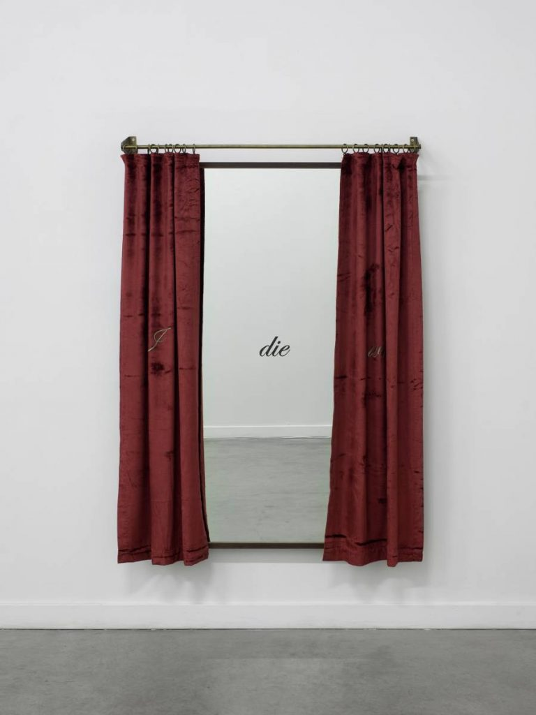 Shilpa Gupta, I Will Die, 2012, Print on mirror, embroidered curtain on metal rod, 147x104x12.5 cm, Edition of 3