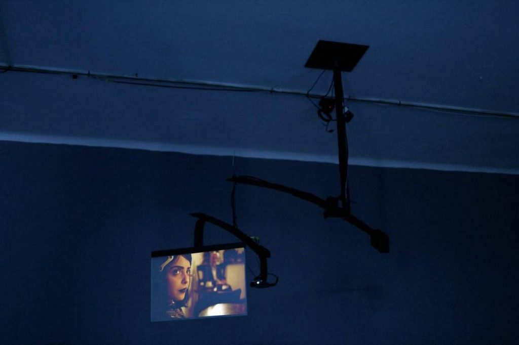 Miri Segal, Gmind Mobile, 2010, video projection on a motorised mobile (3 minutes), iron, aluminium and glass, approx. 190 x 170 cm, edition of 5 + 2 AP