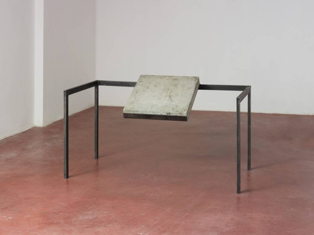 Miroslaw Balka, 80 x 140 x 80 Gravity, 2015, concrete slab, steel, 80 x 140 x 80 cm