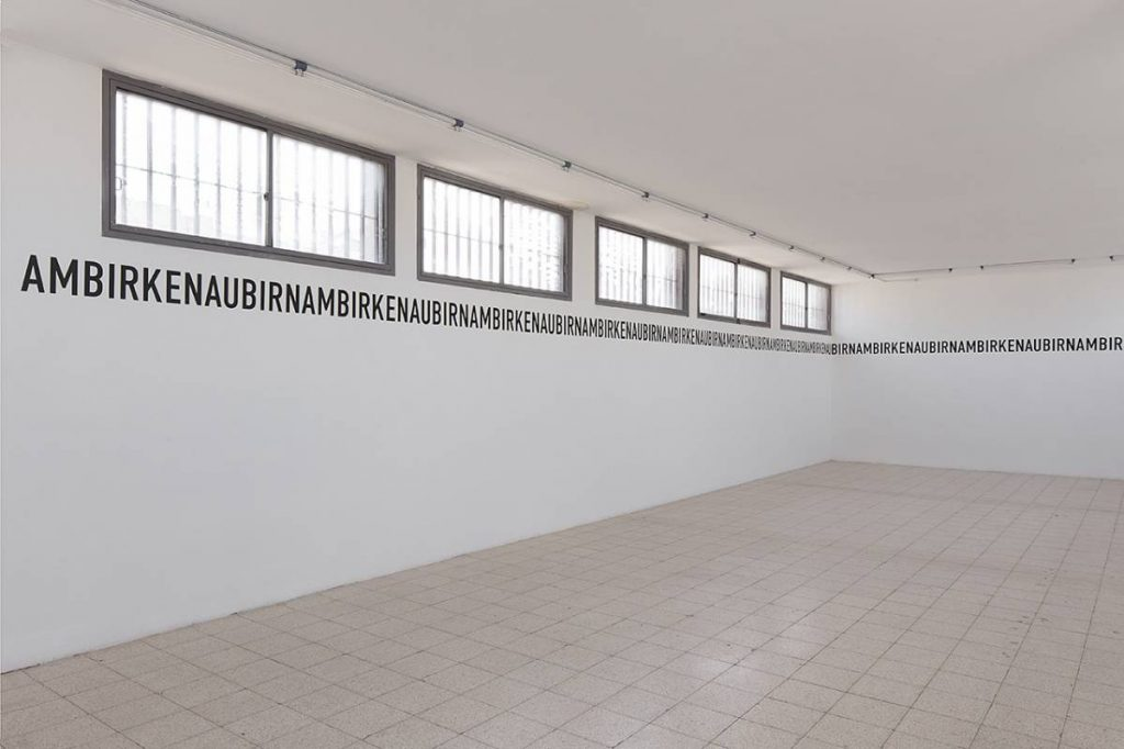 Miroslaw Balka, BIRNAMBIRKENAU, 2015, vinyl letters