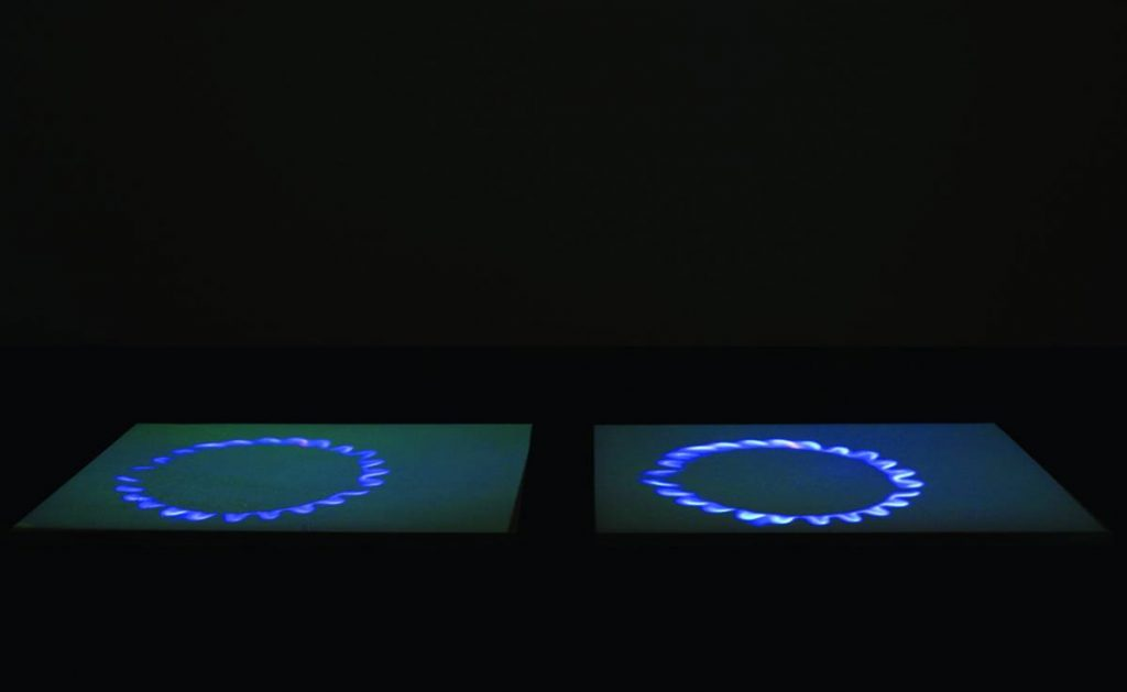 Miroslaw Balka, Blue Gas Eyes, 2004, Steel, salt, and DVD projection, 2 x (170 x 126 x 5) cm, Edition of 2 + 1 AP