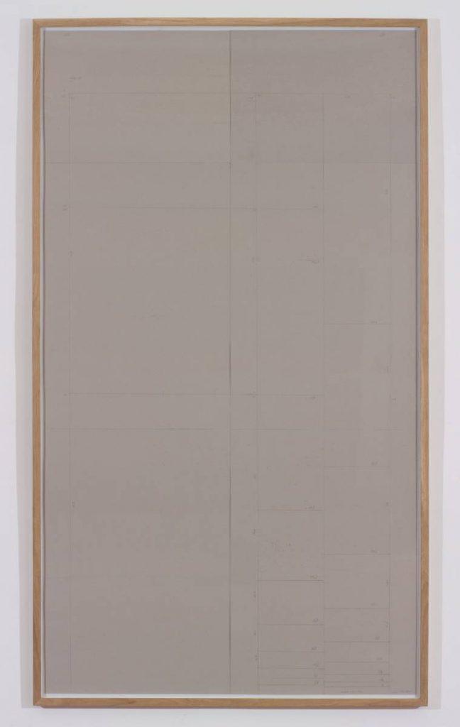 Miroslaw Balka, Modulor  AF  1944, 2015, pencil on cardboard, 258 x 148 x 4 cm.