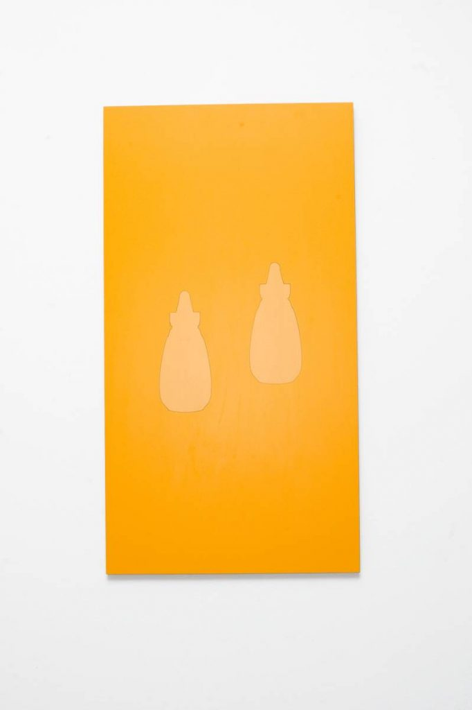 Barak Ravitz, Two from Chardal (mustard) Formation, Four from Egoz (Nut) Formation, 2008, Formica on wood, 112 x 60 cm, unique