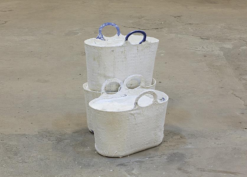 Etti Abergel, Untitled, 2008, plastic pail, styrofoam, plaster cast, plaster bandages and gesso