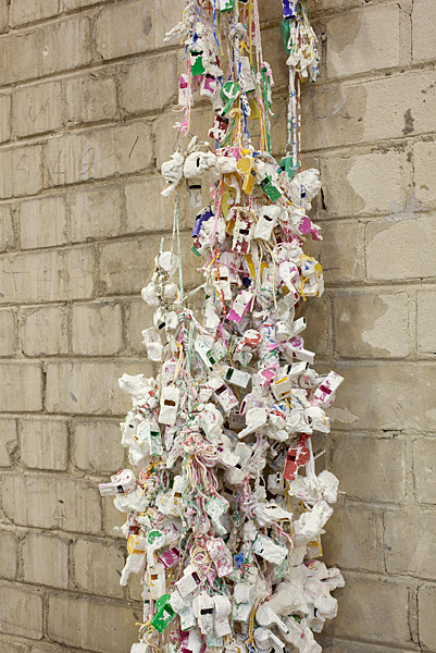 Etti Abergel, Untitled, 2008, plastic whistles, plaster, gesso and brown rope small