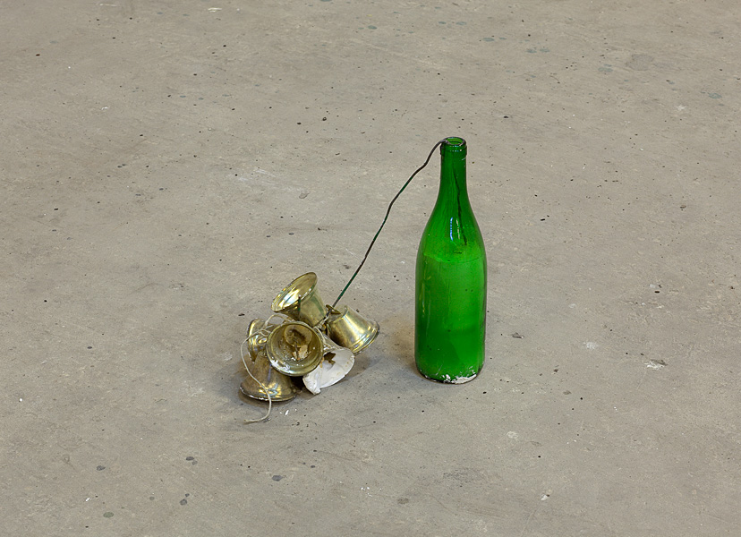Etti Abergel, Untitled, 2010, bottle, plaster, wire and gilded metal bells
