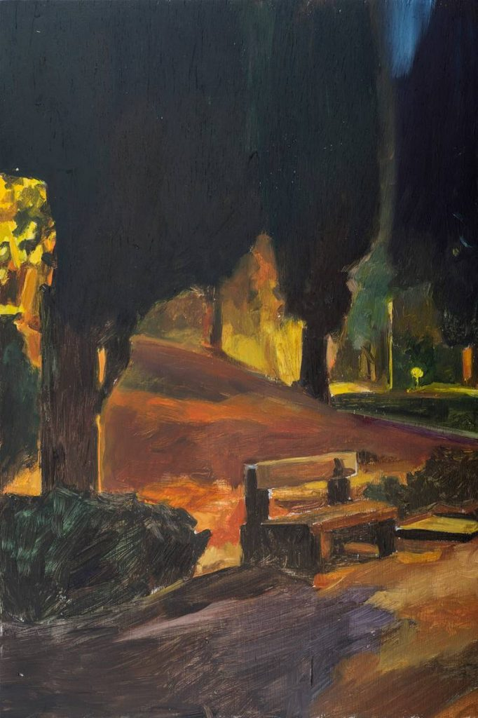Vered Nachmani, A bench near the memorial at night 1, 2014, oil on wood, 53.5 x 43.5 cm