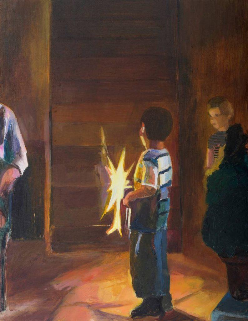 Vered Nachmani, Fireworks 11, 2013, oil on wood, 43.5 x 33.5 cm