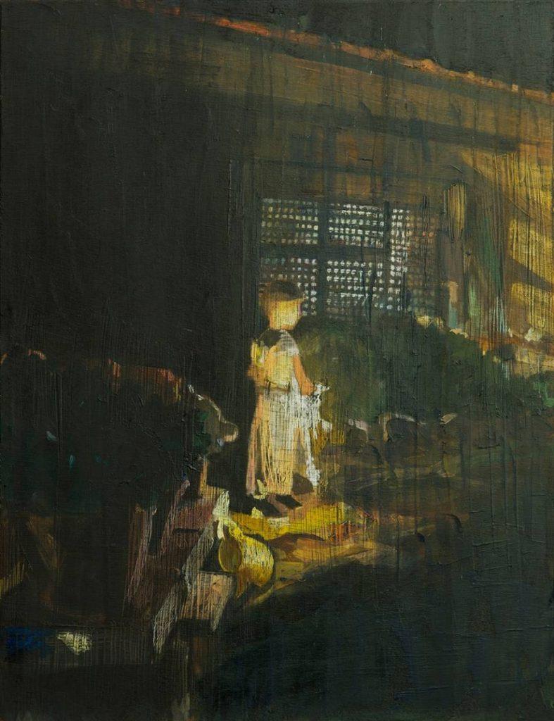 Vered Nachmani, Fireworks 2, 2013, oil on wood, 43.5 x 33.5 cm