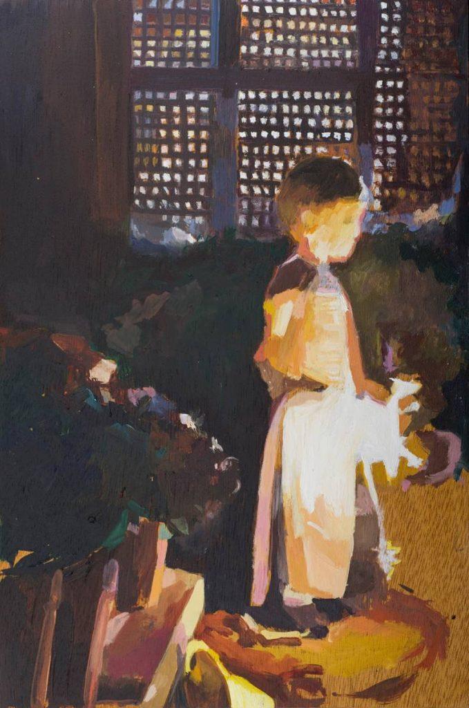 Vered Nachmani, Fireworks 6, 2013, oil on wood, 30 x 20 cm