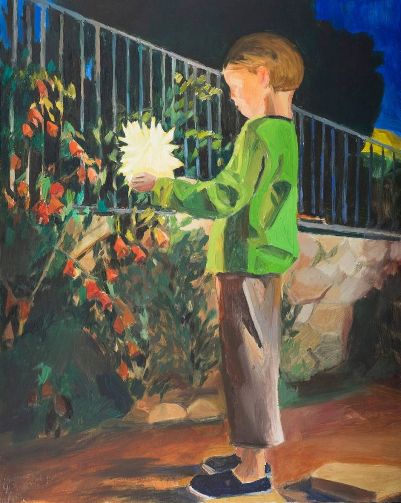 Vered Nachmani, Yonathan with fireworks 4, 2014, oil on wood, 50 x 40 cm