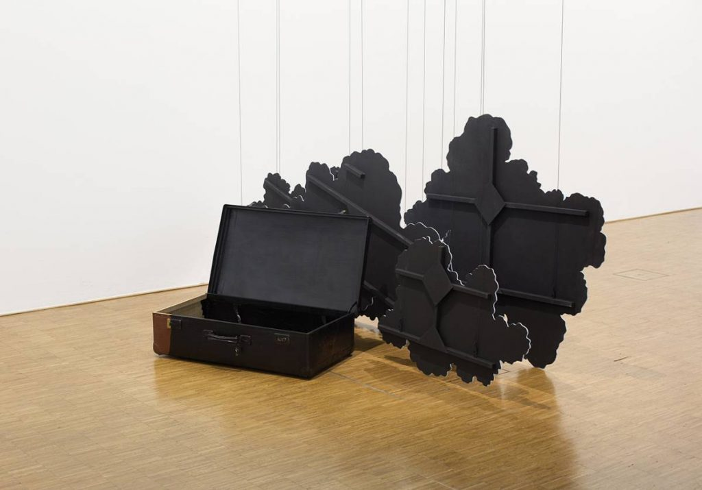 Latifa Echakhch, Inking (The cardboard suitcase) 2014, Suitcase, Chinese Ink, wooden cloud scenery, canvas, acrylic paint, steel wire, dimensions variable, unique, exhibition view, Centre Pompidou, Paris